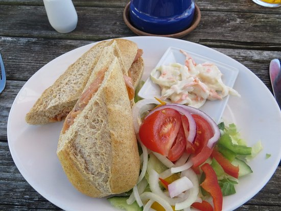 Pett, UK: Smoked salmon baguette