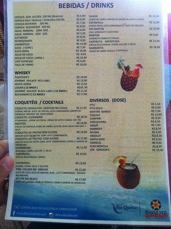 Marulhos Suítes Resort: cardapio restaurante marulhos resort