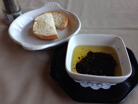 Freeland, WA: Our gluten free bread choice and olive oil with balsamic.
