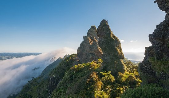 Mt Manaia: Morning mist over the Mount
