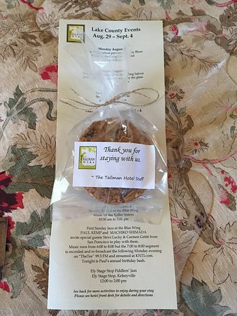 Upper Lake, CA: Cookies and Events sheet given upon arrival
