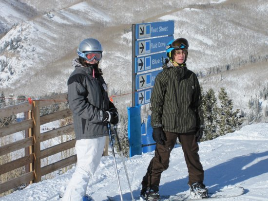 Brighton, UT: proof that mogul skiers and snowboarders use the same runs