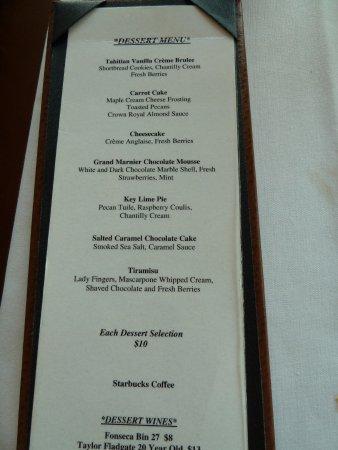Republic of Texas Bar & Grill: desert menu