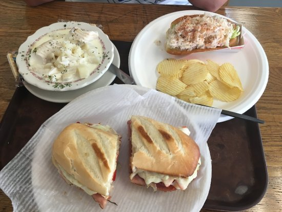 Uncle Kippy's: Haddock chowder, Italian sandwich, and crab roll with chips. Awesome meal!
