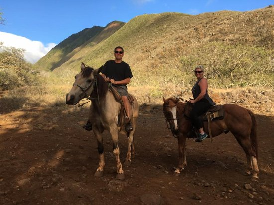 Lahaina Stables: Our photo on our mounts, Geronimo and Pony Boy