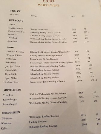 Hotel Kamp: Extract from the wine list