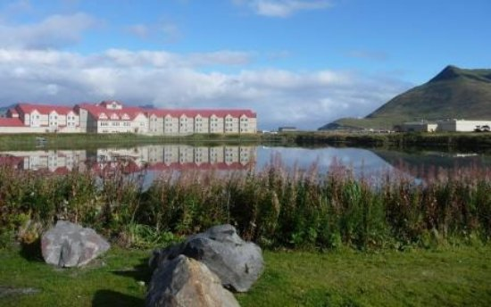 Grand Aleutian Hotel: back of hotel from the Museum of the Aleutians