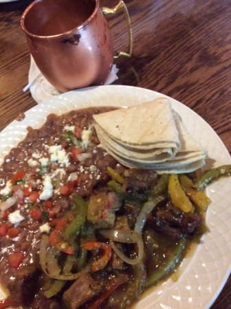 Hungry Horse, MT: Chili Verde Pork with tortillas & pintos