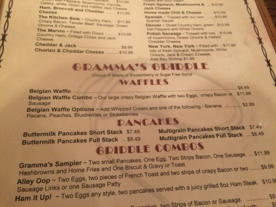 Menu - Picture of Gramma\'s Country Kitchen, Banning - TripAdvisor