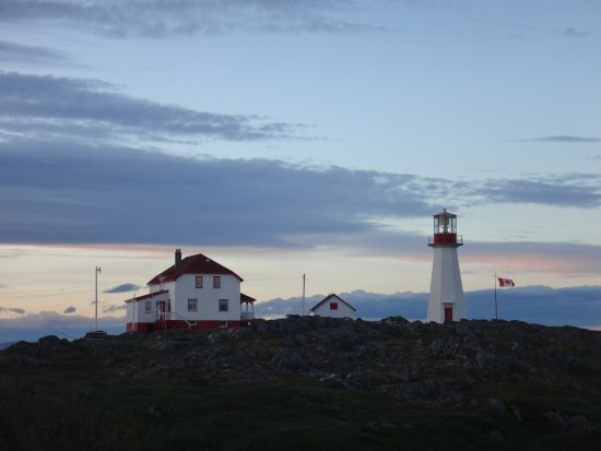 Quirpon Island, Canada: Main house & lighthouse at 8:00 pm