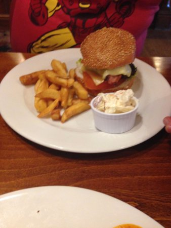 Heart of England Hotel Weedon by Marston's Inns: Photo of Cowboy burger but chips appear more than there was