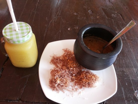 Anjuna, India: mango milk shake with idappam fish curry wow!!!!