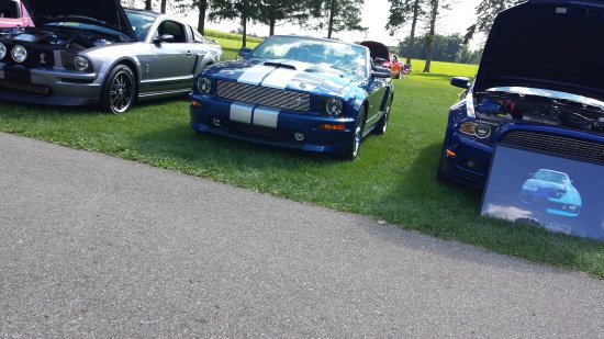 Hickory Corners, MI: The end of a Mustang show on the lawn. This is in addition to the other cars.