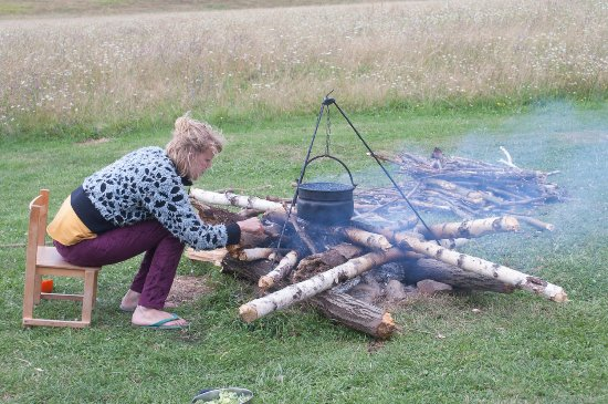 Cerovo, Slovakia: Wood nearby and there are tripods available for free to cook your meal the oldfashioned way