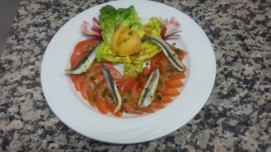 Pluvigner, Frankrike: Sorbet Tomate de plein champ, anchois marinés