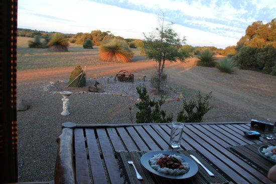 Eleanor River Homestead - Kangaroo Island: outdoor dinner on the verandah