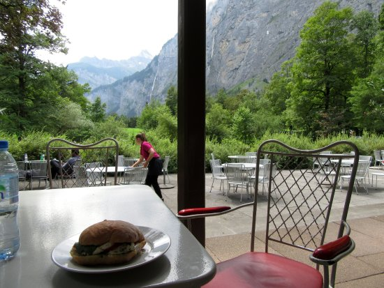 Stechelberg, Sveits: Lovely view with your meal