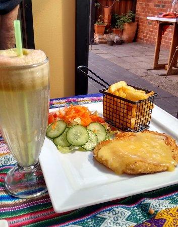 Schnitzel & Cheese, Salad & Chips, Watermelon/Apple Juice