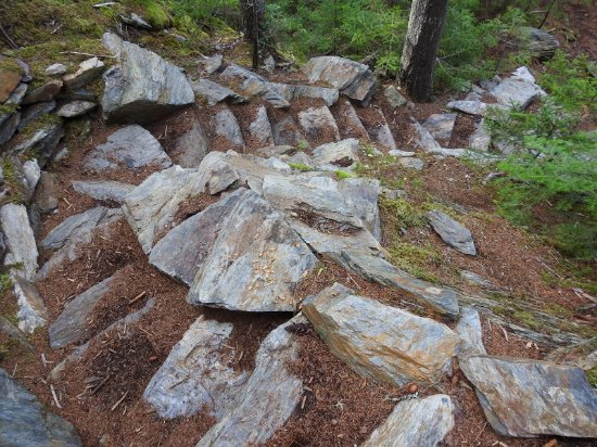 West Forks, ME: staircase made from rocks to climb to the top