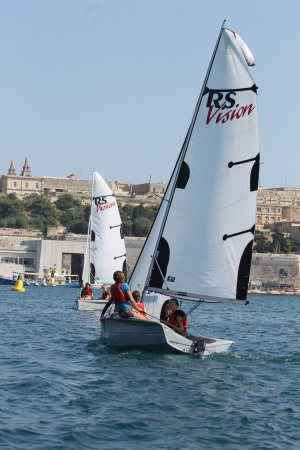 Ta' Xbiex, Malta: The sailing school users RS Visions for their lesson.