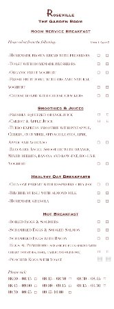 Roseville Bed & Breakfast: Breakfast Menu