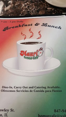 Mauri's Famous Cafe: Menu and Mauri's Special.