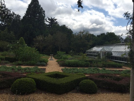 LaGrange, GA: View of the herb garden and green house