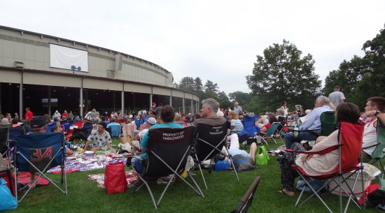 Lenox, MA: The majority of the audience sits outside the shed and watches on big screens.