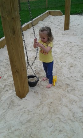 Denham, UK: The sand pit in the play area
