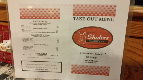 Latta, SC: Take out menu