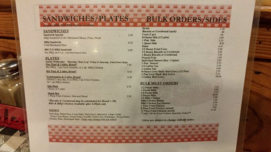 Latta, Karolina Południowa: Take out menu - back