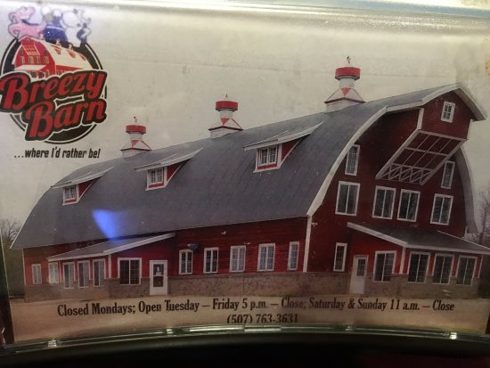 Tracy, MN: Breezy Barn's ad on their napkin holder