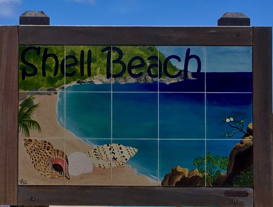 Shell Beach: This sign let's you know you are at the right place.