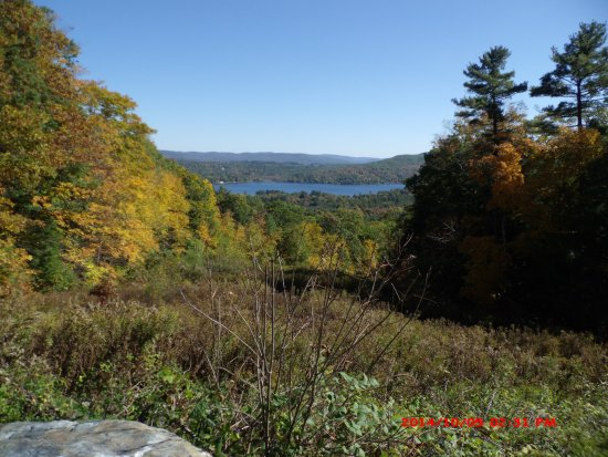 West Stockbridge, MA: View of lake in valley below Olivia's Overlook.