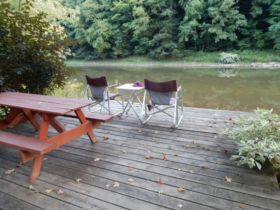 Olean, NY: The deck just outside our camper.
