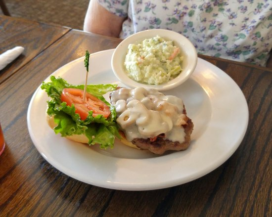 North East, PA: Hamburger smothered with mushrooms and coleslaw.