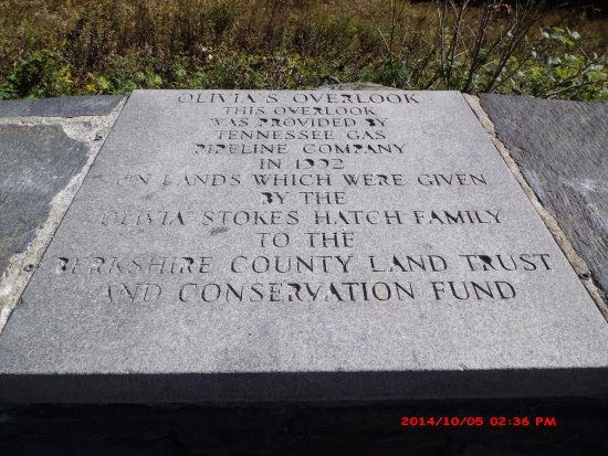 West Stockbridge, MA: Olivia's Overlook plaque