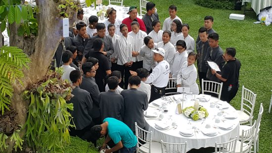 mr sunnato banquet manager personally directing an army