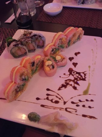 Sakura Asian Cuisine and Sushi: Pink Lady Roll, and coconut shrimp