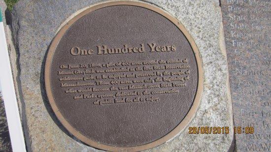 Lanesboro, MA: One Hundred Years commemorative plaque