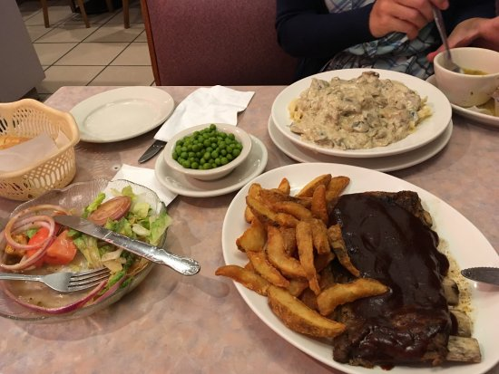 Bethel, CT: Spare ribs came with fresh salad and your choice of vegetables, in the back, beef Stroganoff /w
