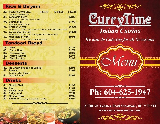 Restaurant take out menu 2 picture of curry time for Take out menu