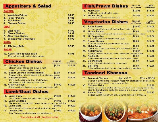Restaurant Take Out Menu 2 Picture Of Curry Time Abbotsford Tripadvisor