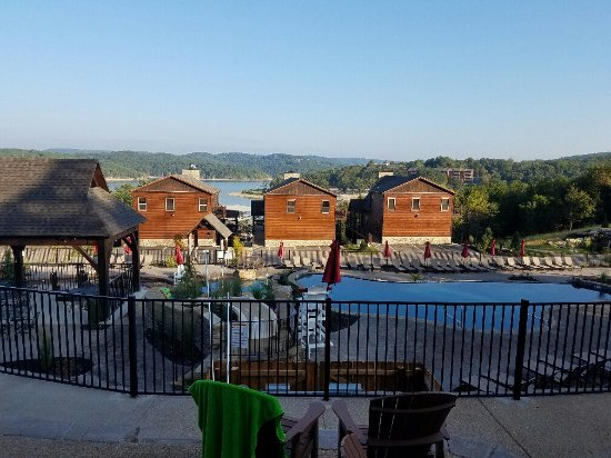 Reeds Spring, MO: View from the back door of villa F - overlooking pool & can see Tablerock Lake
