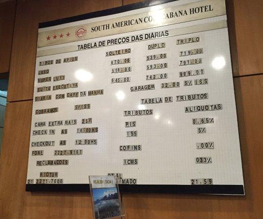 ساوث أمريكان كوباكبانا هوتل: price for stay one night