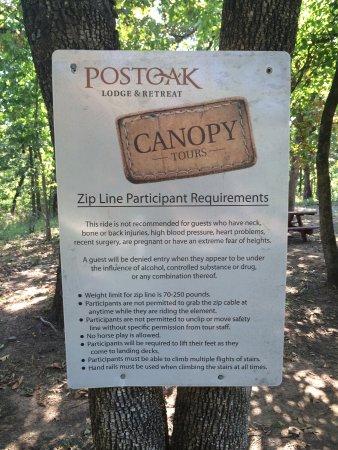 POSTOAK Lodge & Retreat: Zip line tour posted requirements.