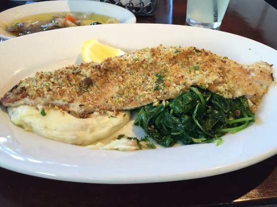 Antico Posto : Pistachio crusted whitefish, with mashed potatoes, and spinach sautéed in herbed butter