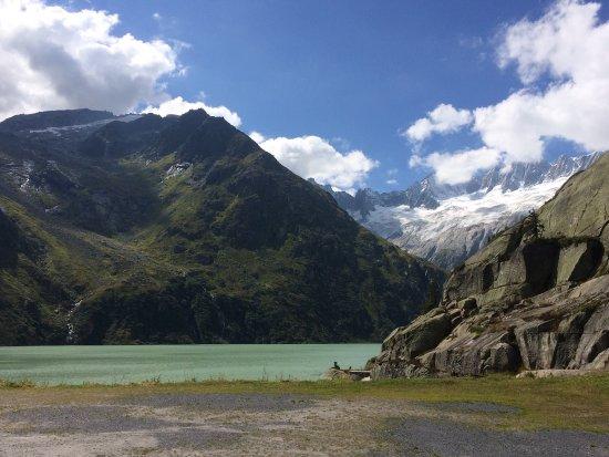 Goschenen, Sveits: Ausblick nach 3 Minuten Spaziergang