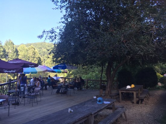 Straightaway Cafe: Deck, with hard hats at picnic tables under apple tree