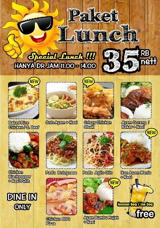Cilegon, Indonésia: Lunch menu
